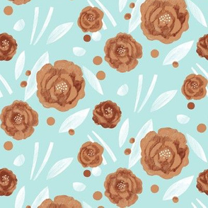 Scattered Abstract Flowers in Teal and Orange