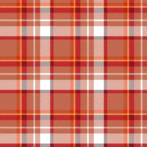Custom Asymmetric Speckled Red Chocolate Yellow and White Plaid