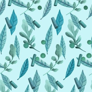 Falling Leaves and Peas in Blue and Teal