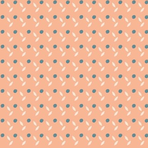 Delicate Dot and Leaf Pattern in Blue and Peach