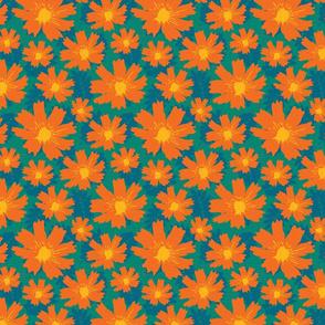 Orange Teal Floral