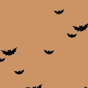 Little bats in the sky halloween fall autumn design kids neutral nursery design camel caramel brown