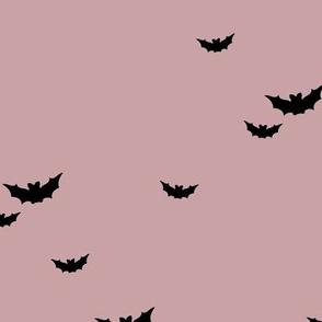 Little bats in the sky halloween fall autumn design kids neutral nursery design mauve pink purple black