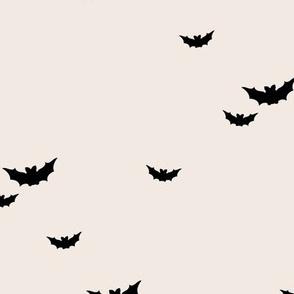 Little bats in the sky halloween fall autumn design kids neutral nursery design beige sand off white black