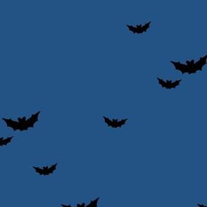 Little bats in the sky halloween fall autumn design kids neutral nursery design navy blue
