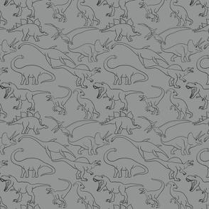 Dinosaur traces over grey - single
