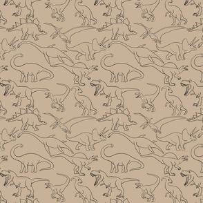 Dinosaur traces over beige - single