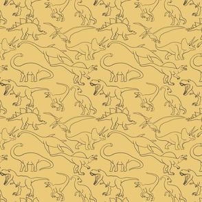 Dinosaur Traces over yellow - single