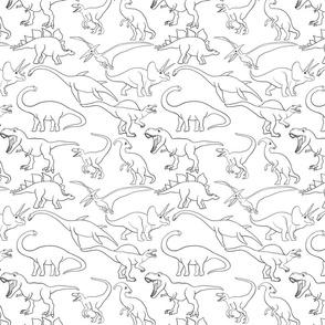 Dinosaur traces over white - single