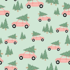 Pink Holiday Cars with Trees - Medium Scale 8x8