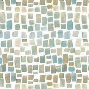 Painted Squares, Golds, Blue, Tan