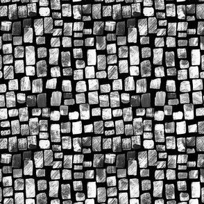 Painted Squares, Textured Black and White, on Black, small