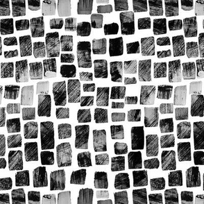 Textured Painted Squares, Black on White