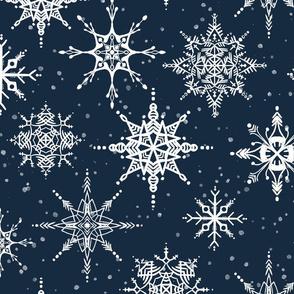 Navy Snowflakes
