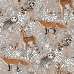 Brown and grey -Forest-Animals- grey 2 inches