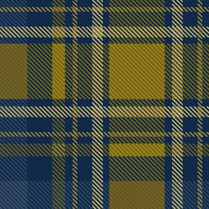 Christmas plaid in Naval and Gold