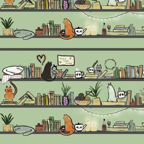 Cosy Books & Cats Stripe