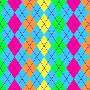 Neon Rainbow Argyle
