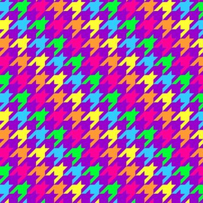 Neon Rainbow Houndstooth