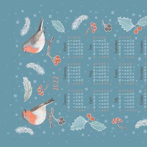 Winter Birds calendar 2021 towel