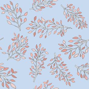 Blue & vintage pink leafy pastel