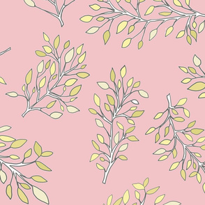 Pretty pink and yellow pastel leaves