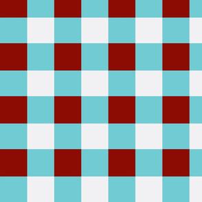 Aqua Red and White Block Medium