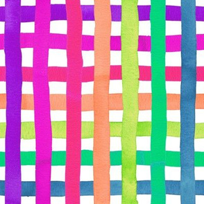 Rainbow gingham stripes neon on white