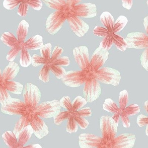 Light grey & pink watercolour Blossoms