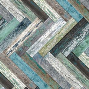 Reclaimed Boat Wood Chevron Tiles Green Blue Beige Grey Cream Brown Herringbone Horizontal