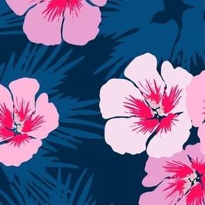 Navy & Pink Hibiscus Floral