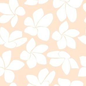 White Plumeria on Peach