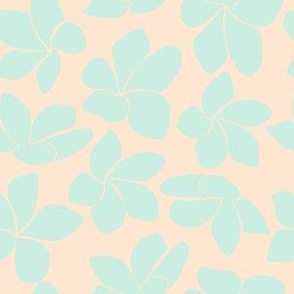 Plumeria - Peach and Teal