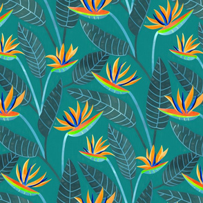 Strelitzia Flowers - Navy Teal - Large Scale