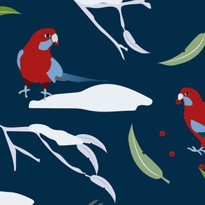 crimson rosellas in winter repeat b dark blue-01