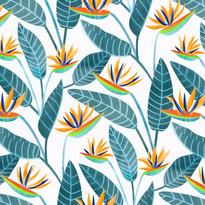 Strelitzia Flowers - Grey Teal & White - Large Scale