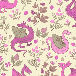 Large - Dragons and flowers - Pink