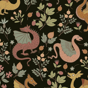 Large - Dragons and Flowers - Folk art colours