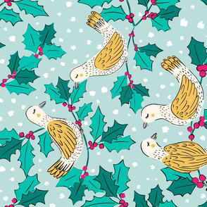 Winter Doves Tea Towel