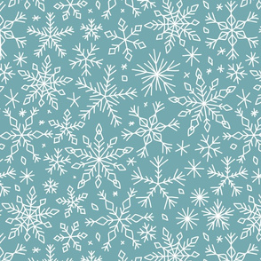 Snowflakes winter Christmas pattern dark blue-grey, large