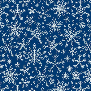 Snowflakes winter Christmas pattern dark blue, large
