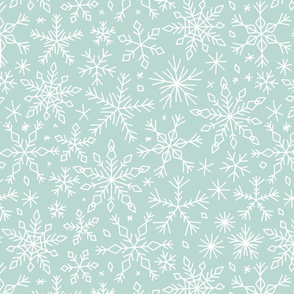 Snowflakes winter Christmas pattern ice blue, large