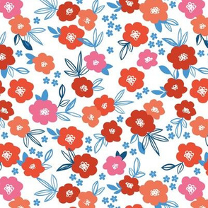 Sweet blossom garden romantic english liberty print flowers nursery white blush usa blue red on white