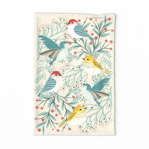 Backyard Winter Birds Tea Towel Garabateo