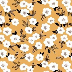 Sweet blossom garden romantic english liberty print flowers nursery ochre yellow white black