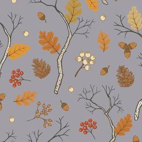 Autumn Forest Pattern Grey