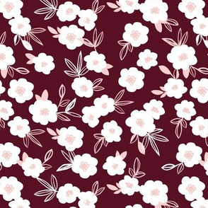 Sweet blossom garden romantic english liberty print flowers nursery maroon winter pink
