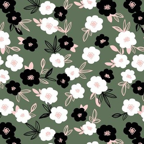Sweet blossom garden romantic english liberty print flowers nursery forest green white black