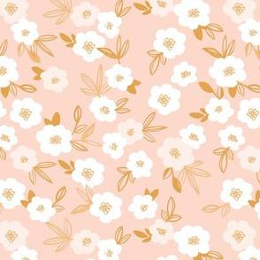 Sweet blossom garden romantic english liberty print flowers nursery white blush peach ochre yellow