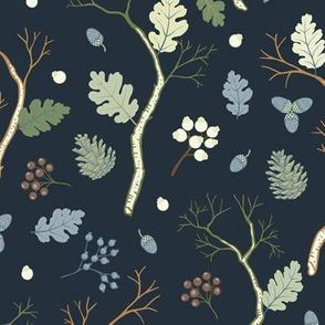 Winter Forest Pattern Dark Grey